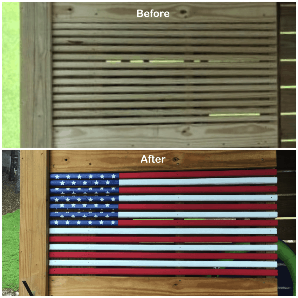 Painting an American Flag on Our Dock Closet