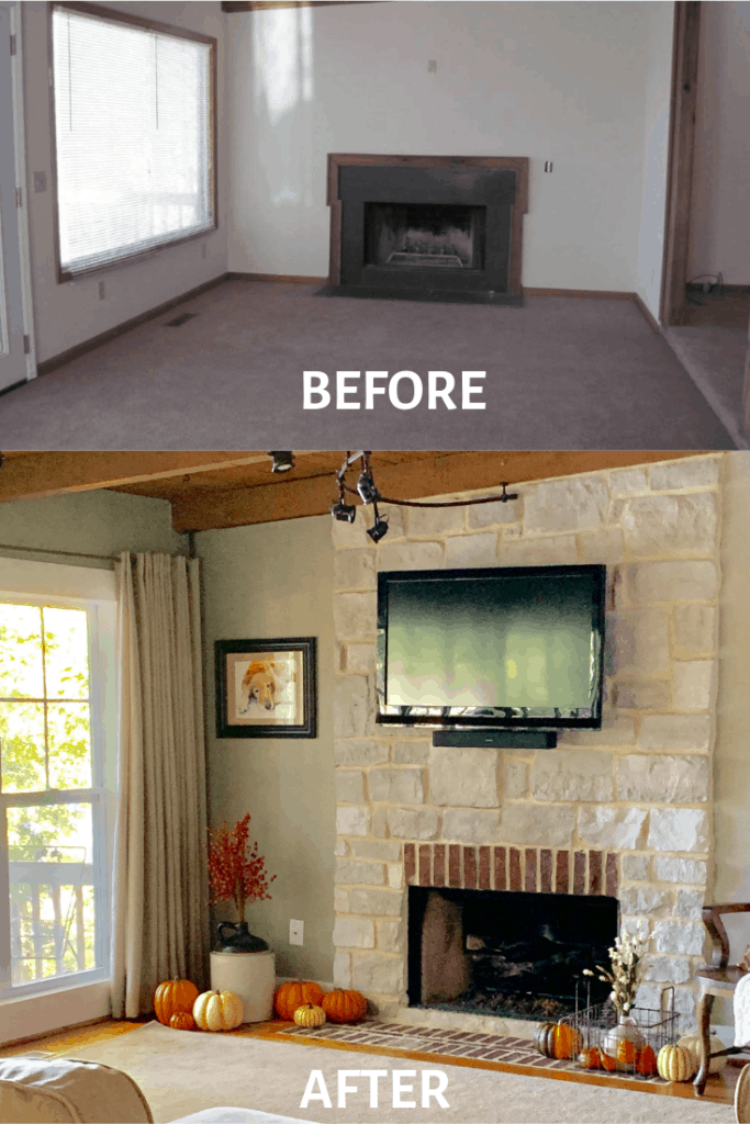 the top picture show a black fireplace box and mauve carpet. The bottom picture is a simulated stone fireplace with a TV hung above the firebox. There is a window to the left and orange and white pumpkins on the fireplace hearth.