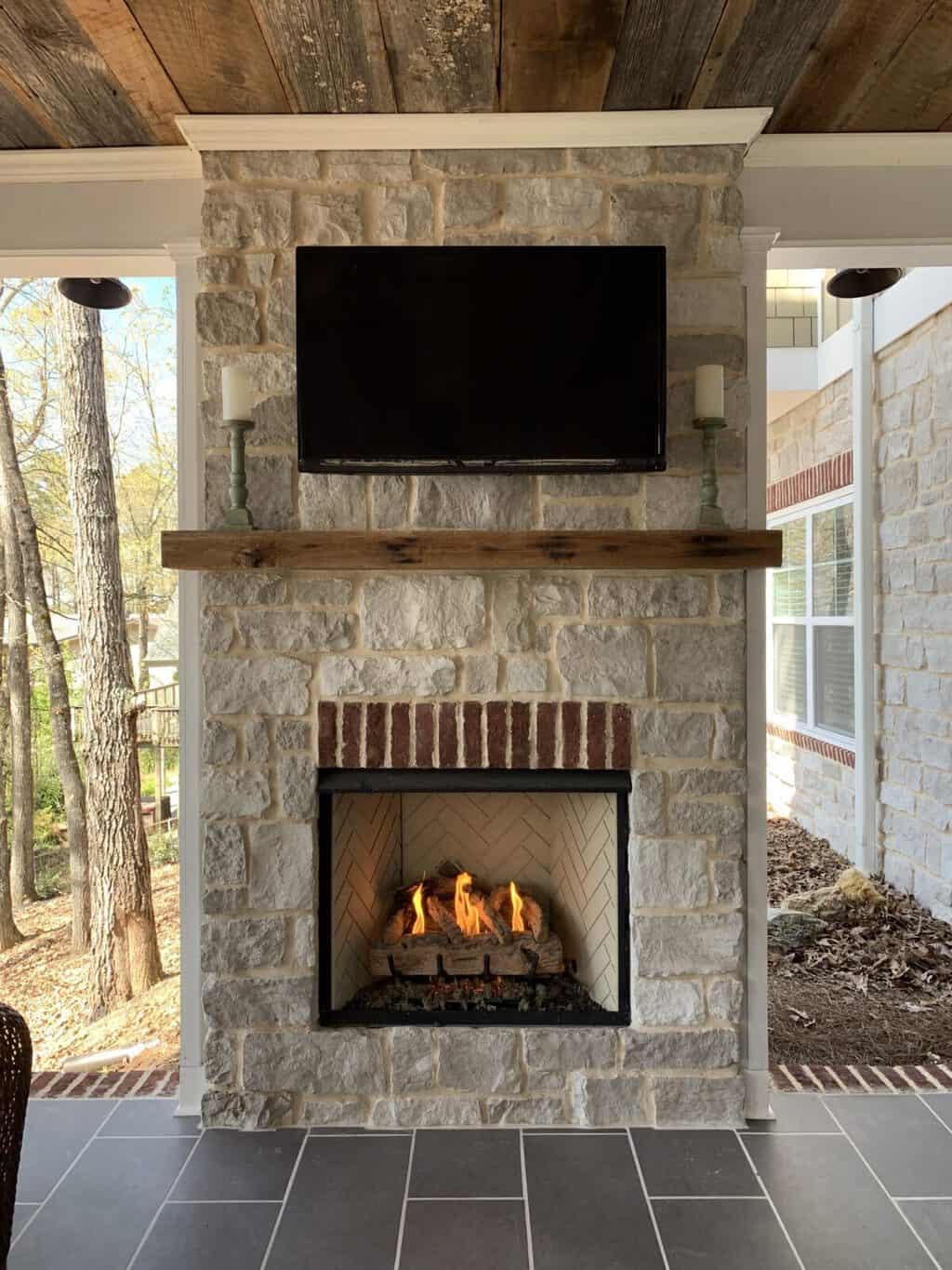 How we Built Our Outdoor Fireplace on our Patio Porch