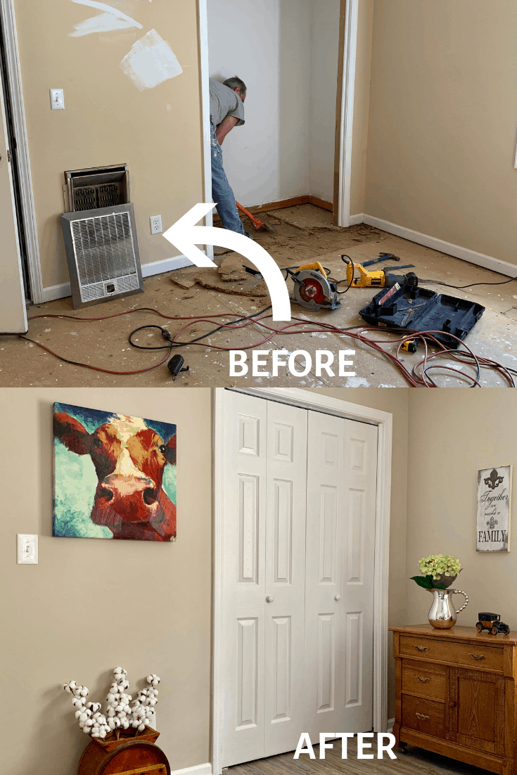 before picture of an old heater in the wall and an after picture where the hole has been repaired.