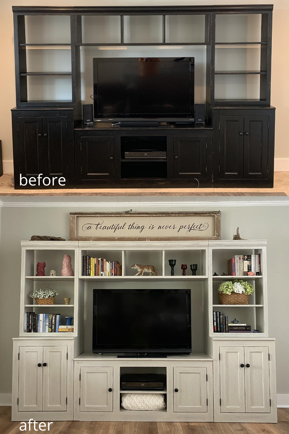 How to Chalk Paint an Entertainment Center