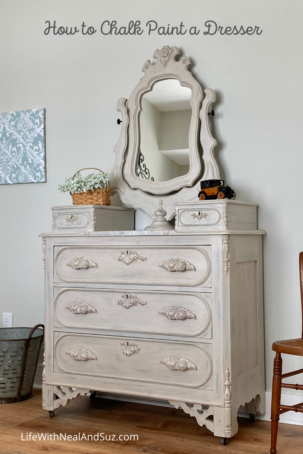 How to Chalk Paint an Oak Dresser